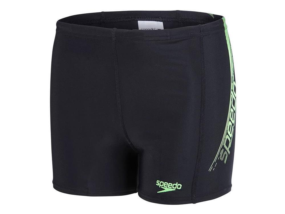 speedo logo panel aquashort jungen badehose endurance10 128 black green. Black Bedroom Furniture Sets. Home Design Ideas