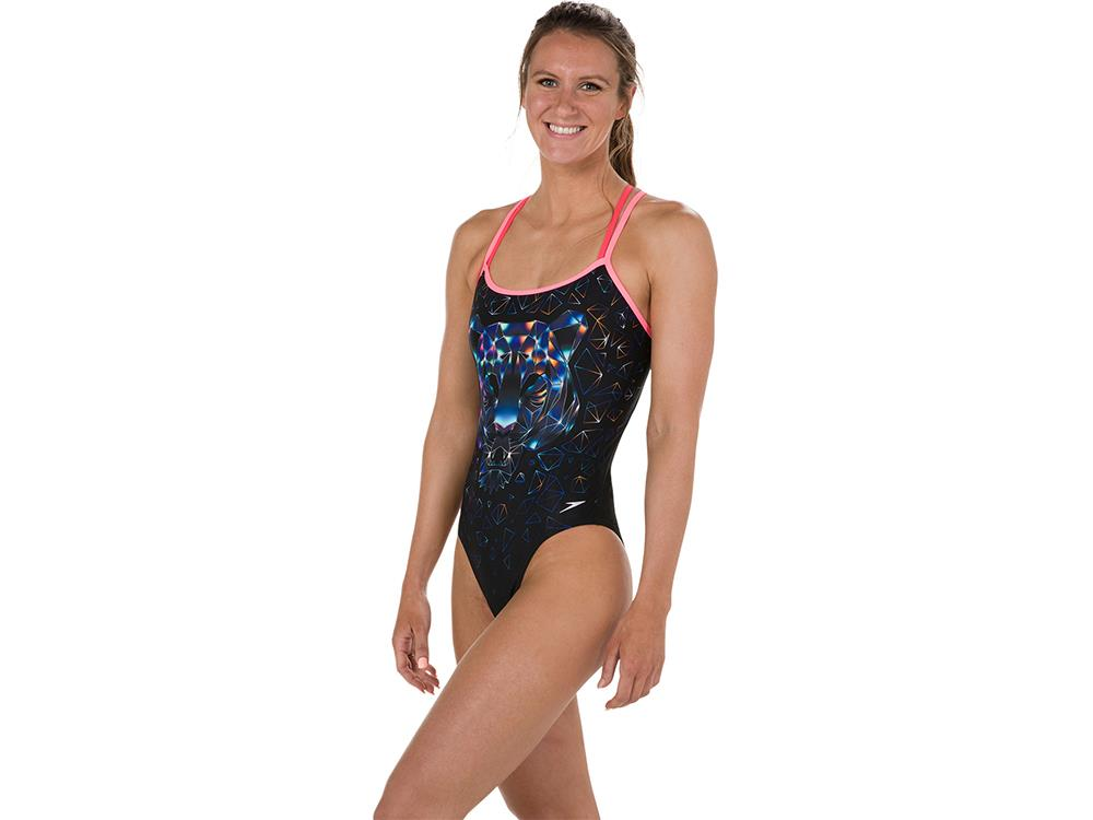 Speedo Diamondize Flipturns Badeanzug Double Crossback, High Leg -  Endurance+ - 36 black pink 29300f9812