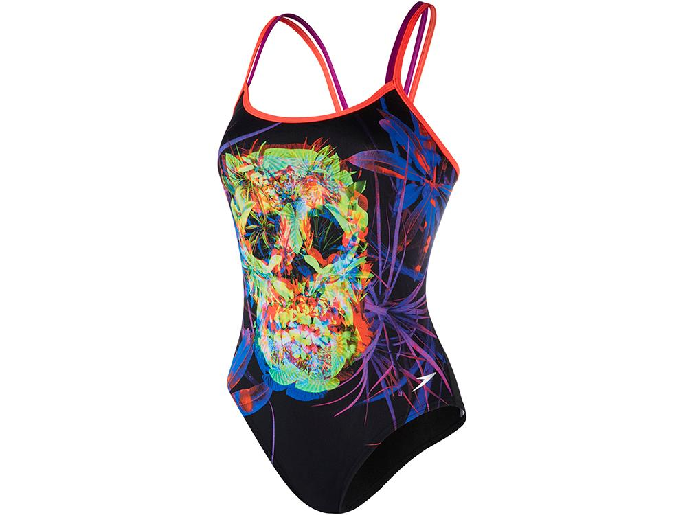 Speedo Psychedelic Fusion Flipturns Badeanzug Double Crossback, High Leg -  Endurance+ - 32 black red d4ccb3d171