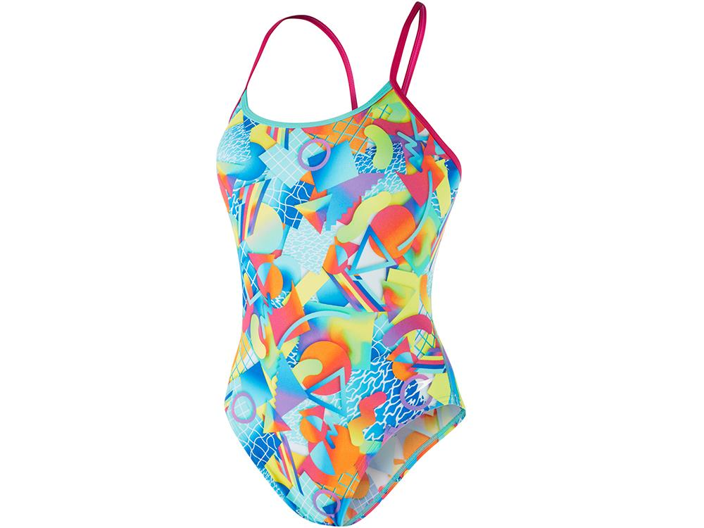 Speedo Sprectrum Splash Flipturns Badeanzug Single Crossback, High Leg -  Endurance+ - 32 pink green b429c93971