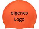 Smit Sport Soft Silikon 50 Badekappen eigenes Logo M zwei Druckfarben - orange
