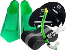 Arena Finger-Paddle/Pull Buoy Set 3 inkl. Powerfin Schwimmflossen und Front-Schnorchel