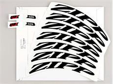Zipp 404 Dekor Aufklebersatz matt schwarz für ein Laufrad