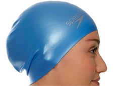 Speedo Long Hair Silikon Badekappe - blue