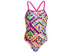 Funkita White Diamond Girls Badeanzug Cross Back - 164 (12)