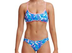 Funkita BooBam Blue Ladies Schwimmbikini Cross Back Tie Top + Hipster Brief