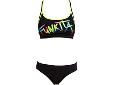 Funkita Funkita Tag Ladies Schwimmbikini Sports Top + Sports Brief Still Black - 34 (8)