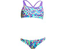 Funkita Mint Strips Girls Schwimmbikini Criss Cross