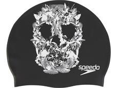 Speedo Slogan Print Cap Silikon Badekappe black/white