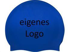 Smit Sport Soft Silikon 50 Badekappen eigenes Logo M zwei Druckfarben - royal blue