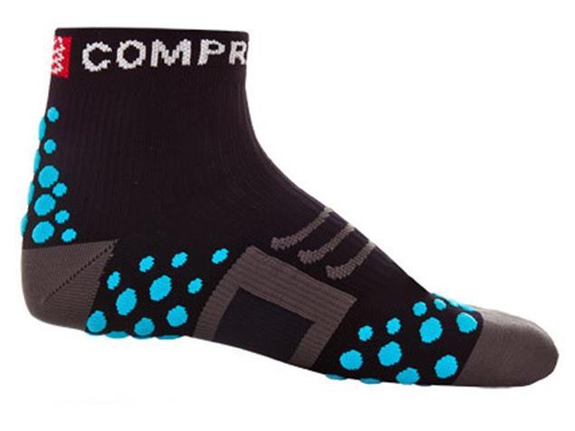 Compressport Run Hi-Cut Socken - 34-36 black/blue dots