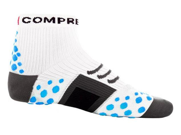 Compressport Run Hi-Cut Socken - 37-39 white/blue dots