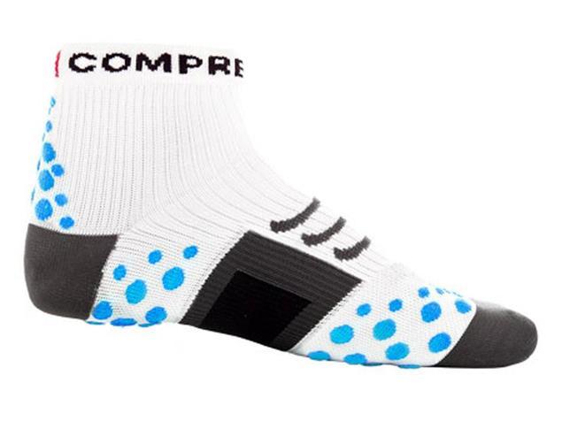 Compressport Run Hi-Cut Socken - 46-48 white/blue dots