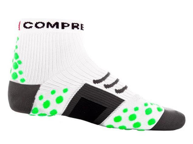Compressport Run Hi-Cut Socken - 46-48 white/green dots