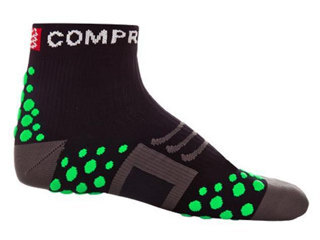 Compressport Run Hi-Cut Socken - 46-48 black/green dots