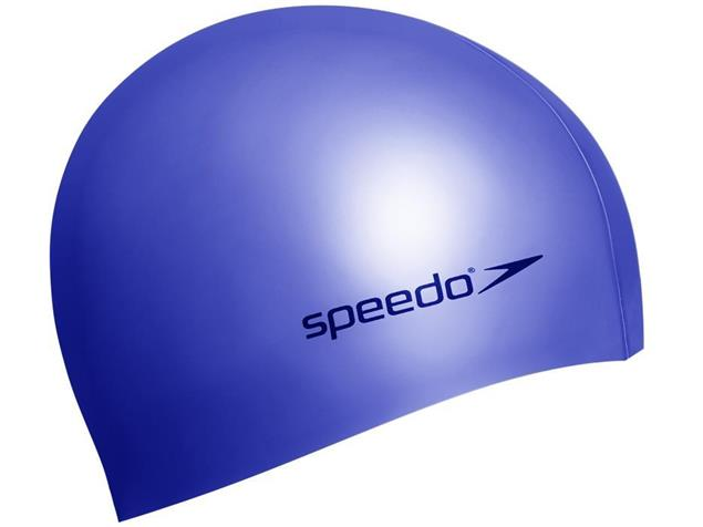 Speedo Plain Flat Silikon Badekappe - navi