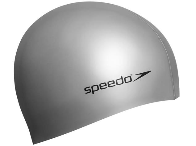Speedo Plain Flat Silikon Badekappe - silver