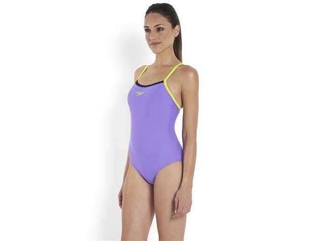 Speedo Thinstrap Muscleback Badeanzug Endurance10 - 32 african violet/lime/navy