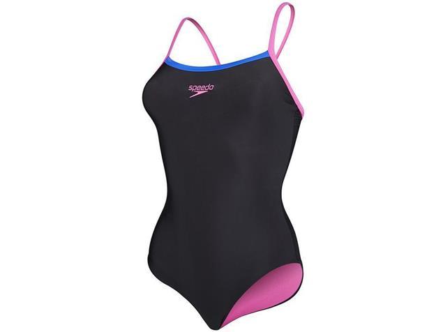 Speedo Thinstrap Muscleback Badeanzug Endurance10 - 38 black/ecstatic/blue