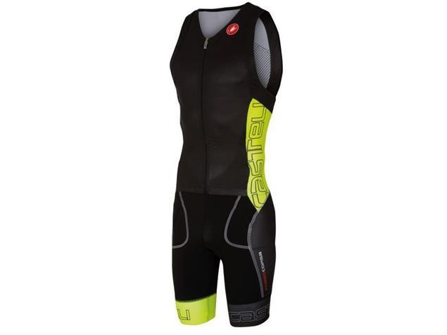 Castelli Free Sanremo Tri Suit SL Einteiler - M black/yellow fluo