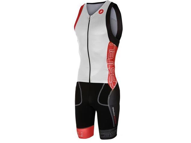 Castelli Free Sanremo Tri Suit SL Einteiler - XL white/red