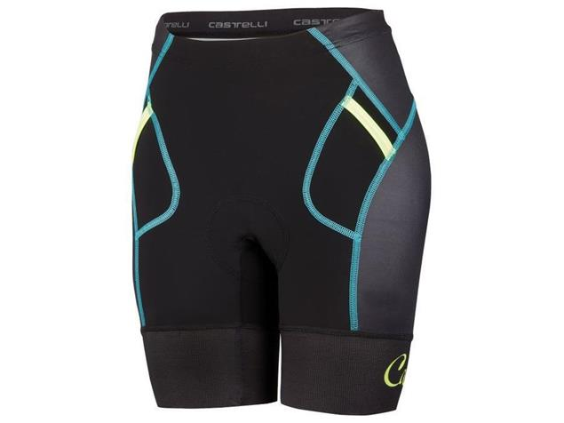 Castelli Free Women Tri Short - XS black/yellow fluo