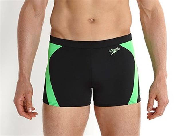Speedo Logo Graphic Splice Aquashort Badehose Endurance+ - 6 black/fluo green
