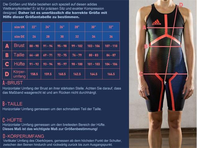 Adidas Adizero XVI Freestyle Wettkampfanzug Open Back - 32 black