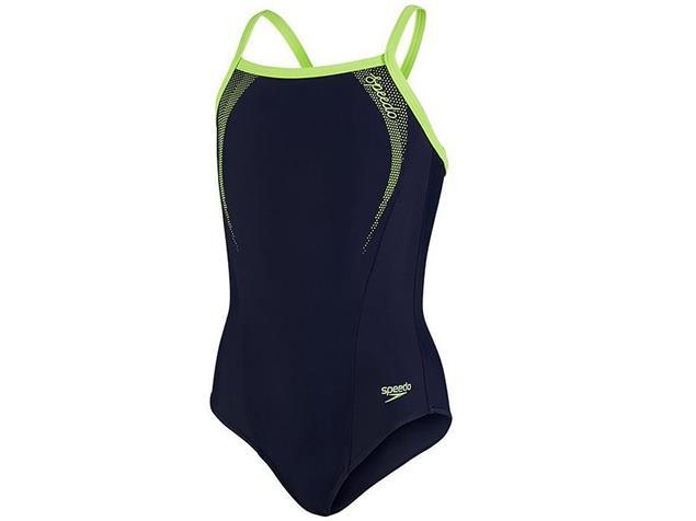 Speedo Sports Logo Thinstrap Mädchen Badeanzug Muscleback - Endurance10 - 116 navy/green