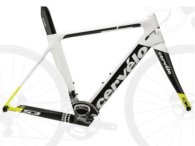 Cervelo S3 Disc Rahmenset - 58 white/black/yellow