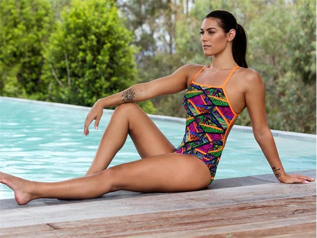 Funkita Jungle Jagger Ladies Badeanzug Cross Back - 40 (14)