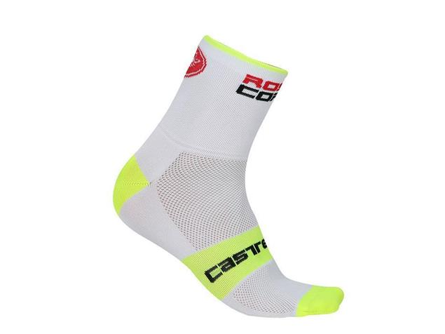 Castelli Rosso Corsa 6 Sock Socken - L/XL white/yellow fluo