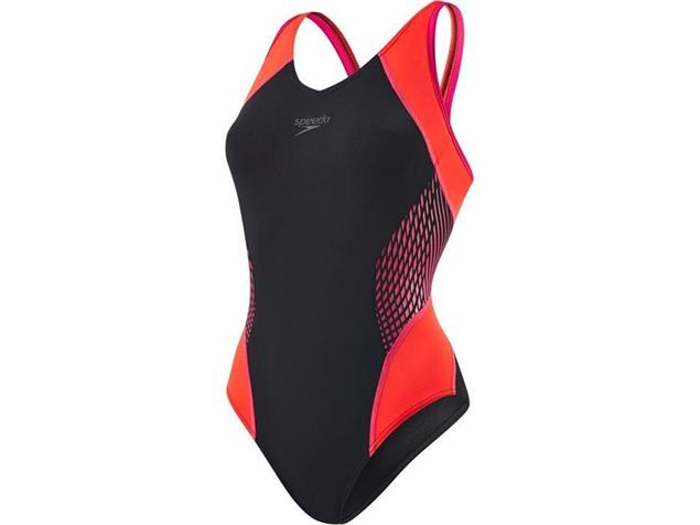 Speedo Fit Splice Badeanzug Muscleback - Endurance+ - 44 black/pink