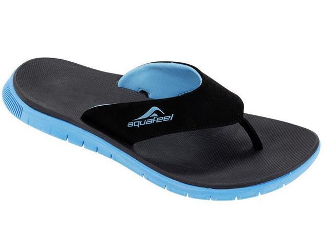Aquafeel V-Strap Herren Zehensandale Badeschuh - 43 schwarz/blau