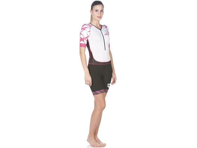 Arena Powerskin ST Aero Women Trisuit Einteiler Kurzarm, Front Zipper - M black/white/fuchsia