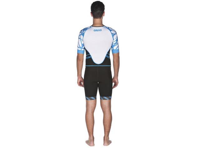 Arena Powerskin ST Aero Men Trisuit Einteiler Kurzarm, Front Zipper - L black/white/aqua blue