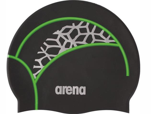 Arena Print 2 Badekappe black/x-pivot/fluo green - black/x-pivot/fluo green
