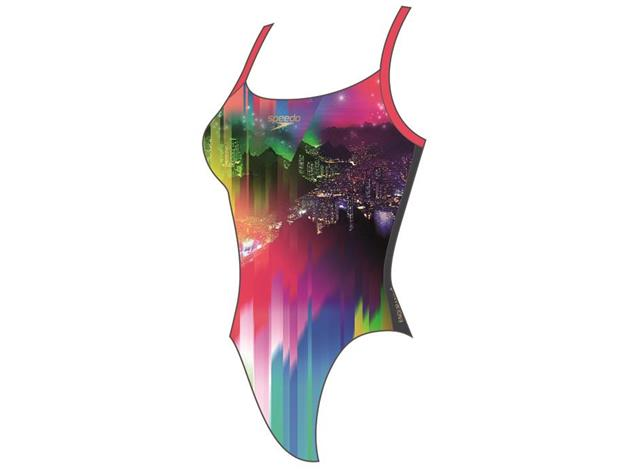 Speedo Sunset Samba Placement Digital Badeanzug Rippleback - Endurance+ - 40 grey/red