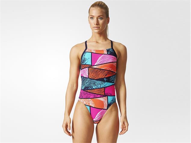 Adidas Parley Badeanzug Infinitex+ - 38 energy blue/easy coral