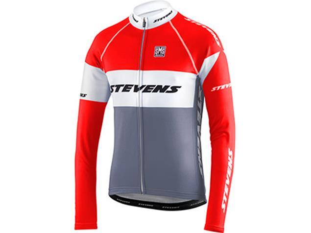 Stevens Equipe Trikot Langarm - S grau/feuerrot/weiß