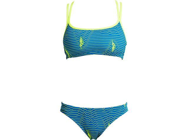 Funkita Ripple Effect Ladies Schwimmbikini Criss Cross Top + Bibi Banded Brief - 36 (10)