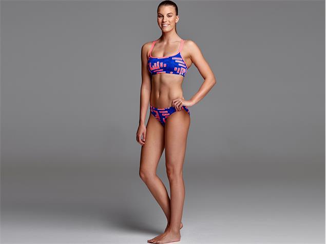 Funkita Hot Rod Ladies Schwimmbikini Criss Cross Top + Bibi Banded Brief - 40 (14)