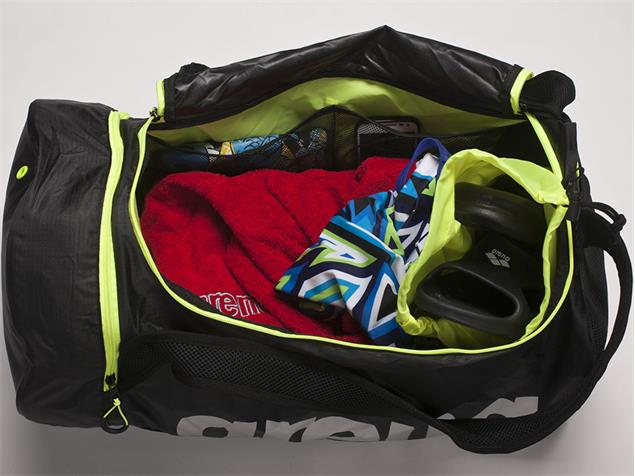 Arena Fast Duffle Tasche Rucksack 50 Liter - black/fluo yellow