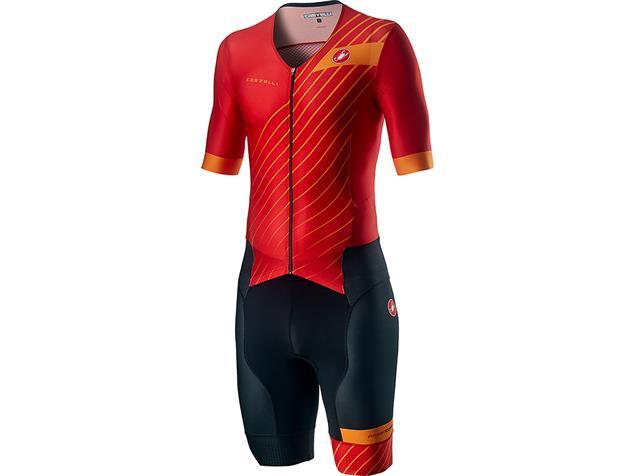 Castelli Free Sanremo Tri Suit Einteiler short sleeve SS - XXL red/fiery red