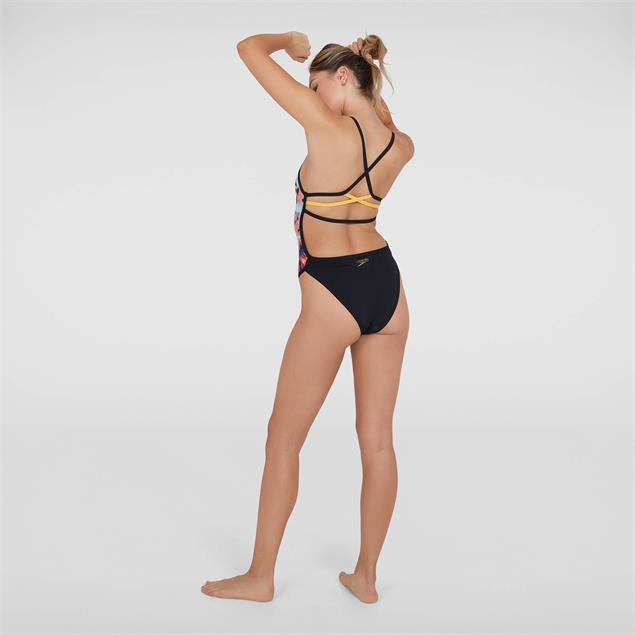 Speedo JungleBeast Placement Badeanzug Ribbonback - Endurance+ - 36 black/orange