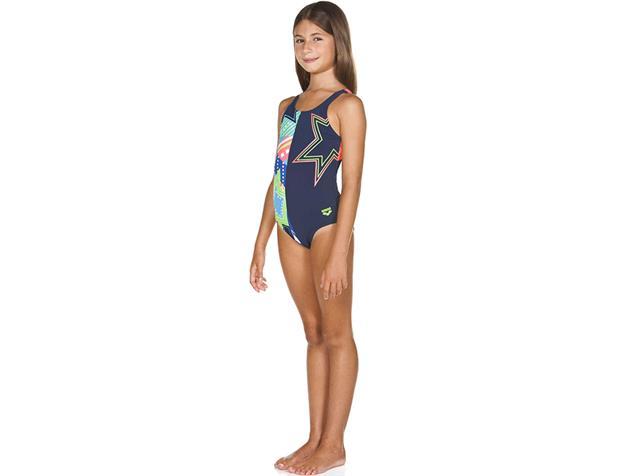 Arena Lightshow Mädchen Badeanzug Swim Pro Back, navy/multi - 128
