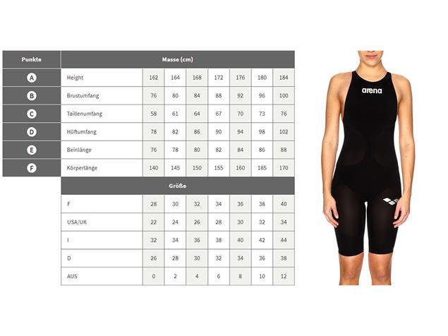Arena Shattered Glass Full Body Badeanzug Swim Tech Back - 38 black