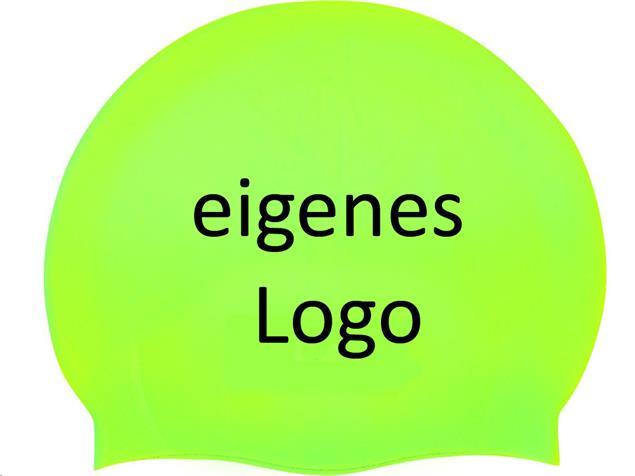 Smit Sport Soft Silikon 50 Badekappen eigenes Logo M drei Druckfarben - fluo green