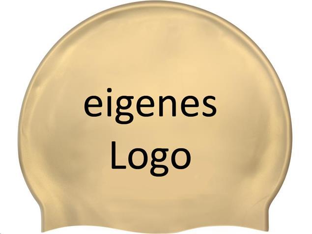 Smit Sport Soft Silikon 50 Badekappen eigenes Logo M eine Druckfarbe - gold