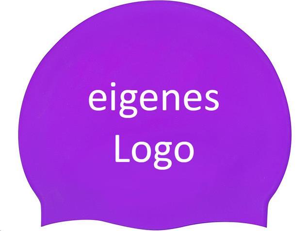Smit Sport Soft Silikon 50 Badekappen eigenes Logo M drei Druckfarben - violet